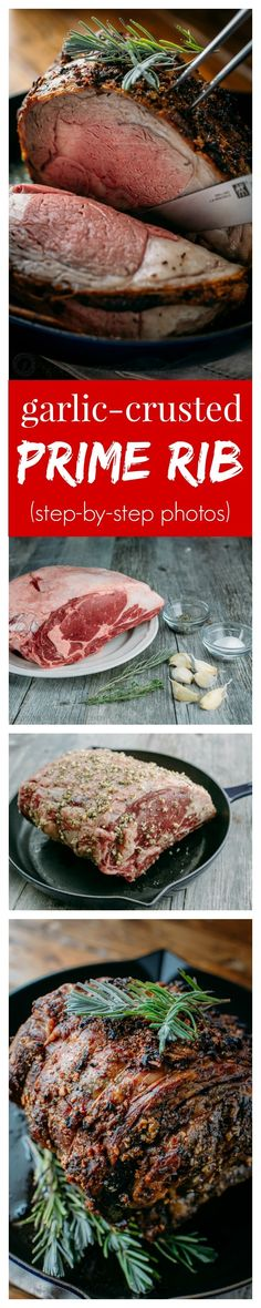 Garlic Crusted Prime Rib - we make this recipe for Christmas or New Years! Simple and delicious prime rib recipe with step-by-step photos. (new years baking ideas) Rib Recipes, Roast Recipes, Cooking Recipes, Recipes Dinner, Yummy Recipes, Dinner Ideas, Game Recipes, Dinner Entrees, Smoker Recipes