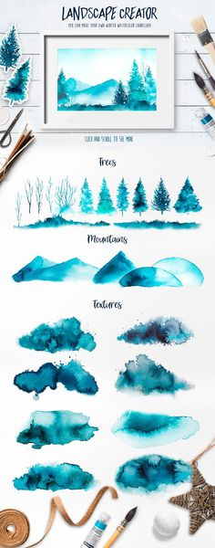 Winter collection. Watercolor. by AlexGreenArt on @creativemarket