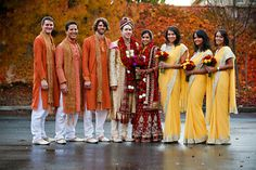 yellows, oranges, and reds  Ideas for bridesmaids and groomsmen