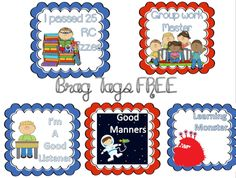 FREE BRAG TAGS!! I want to start using these instead of DOJO or candy!