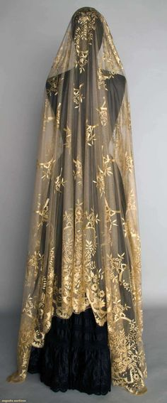 "CREAM SILK LACE VEIL, MID 19TH C Silk reseau w/ hand embroidered & drawnwork silk toile, design of flower garlands, bows, & drawnwork catouches, 60"" x 98"", Augusta Auctions"