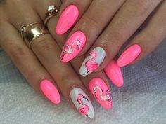 54 ideas nails art estive fenicottero for 2019 Neon Nails, Pink Nails, Glitter Nails, Summer Acrylic Nails, Summer Nails, Trendy Nails, Cute Nails, Nail Art Designs, Flamingo Nails