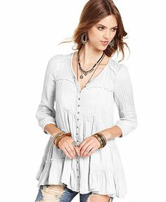 Free People Top, Long-Sleeve V-Neck Tiered
