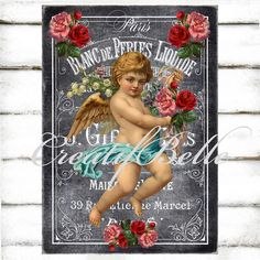 Chalkboard Vintage Victorian Cherub No.003 Large Instant Digital Download Printable French Perfume Label Valentines Graphic Transfer Image