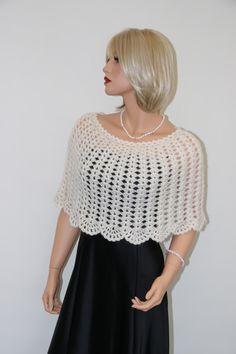 Wedding Bolero – Crochet Ivory colour Mohair Cashmire Shrug Poncho – a unique product by MartaCrafts on DaWanda