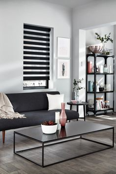 Compliment a monochrome design scheme with our Cascade Jet Roller blinds, featuring stylish black and sheer horizontal stripes they're the perfect choice for making a statement. Made To Measure Blinds, Monochrome Color, Roller Blinds, Shutters, Color Schemes, Black Interiors, House Design, Curtains, Living Room