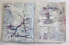 story with cracks. acrylics on book 43 x 26,6 cm. Ines Seidel.