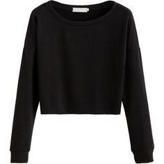 Black Dropped Shoulder Seam Crop T-shirt (21 BRL) ❤ liked on Polyvore featuring tops, shirts, sweaters, crop top, black, spandex tops, long sleeve crop top, stretch long sleeve shirt, stretchy long sleeve shirts and long-sleeve crop tops