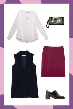 5 Power Outfits To Make You Stop Dreading Monday #refinery29  http://www.refinery29.com/power-outfits-by-industry-macys-workwear#slide-4  Pencil skirts are another workplace staple, but they don't have to be the expected black. Reach for one in a jewel tone, and pair it with a ruffled blouse, long-line vest, and boyish brogues. ...