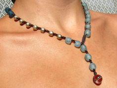 Eco Friendly Asymmetric Lariat Necklace - Upcycled Crochet Artisan Jewelry - Upcycled & Beachy