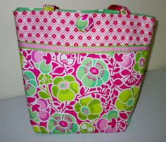 Jacequline  medium pink/green tote by kaydeesbagboutique on Etsy, $53.00