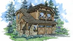 Garage Plan with 628 Square Feet and 1 Bedroom from Dream Home Source | House Plan Code DHSW69719