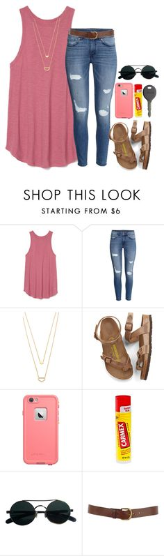 """cheers to da weekend!!"" by arieannahicks on Polyvore featuring H&M, Gorjana, Birkenstock, LifeProof, Carmex, Cherokee and Warehouse"