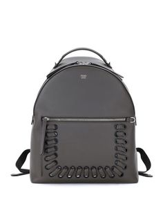 Whipstitch+Leather+Backpack,+Dark+Gray+by+Fendi+at+Neiman+Marcus.