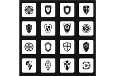 Shield icons set in simple style by Ylivdesign on @creativemarket