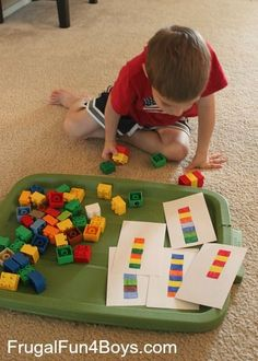 Two Preschool Math Activities with Duplo Legos: great time filler if the room is cleaned and we are waiting for parents if the service has gone longer than expected: