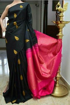 Buy online green With pink colour designer heavy silk saree at joshindia Indian Attire, Indian Ethnic Wear, Indian Style, Ethnic Fashion, Indian Fashion, Style Fashion, Indian Dresses, Indian Outfits, Black Saree