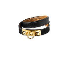 "Rivale Double Tour  Hermes leather bracelet (size S)  Black chamonix calfskin    Gold plated hardware, double tour, 14"" long, 2.25"" diameter, 0.7"" wide"