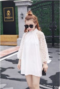Wholesale price: US$ 9.78 Cheapest Gauze Spliced Shirting Collar Backless Dress White