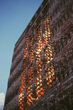 Complex Masonry: South Asian Human Rights Documentation Centre (SAHRDC) sits on a tiny piece of land on a busy street, with its long wall facing the sun. Anagram Architects used a traditional technique to keep it a little cooler and quieter: They constructed a brick Jaali screen that acts as a double skin to shade the building.