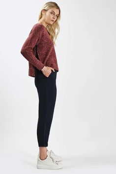 Topshop Bright Trim Marl Jumper — enjoying the side slit swing
