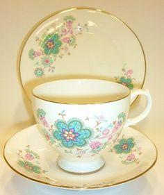 Gainsborough English Vintage China Tea Set Tea Cup Trio Blue Pink Florals