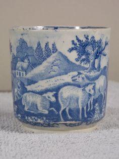 Antique Blue & White Pearlware Child's Mug Romantic Scene Sheep Courting Couple #Romantic #Unknown