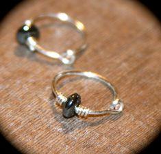 Hematite Cartilage Hoop Earrings, Hematite Little Hoop Earrings, Sterling Silver Hoop Earrings, Lobe/Cartilage/Helix/Tragus by BirchBarkDesign on Etsy