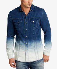 WILLIAM RAST Men's Oak Dip-Dye Denim Shirt  | macys.com