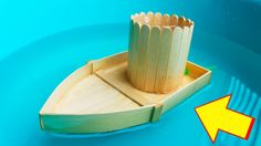 How to Make a Boat run by Power of Water with Popsicle Sticks - DIY Boat... Make A Boat, Build Your Own Boat, Diy Boat, Wooden Boat Kits, Wooden Boat Building, Boat Crafts, Craft Stick Crafts, Popsicle Crafts, Kids Crafts