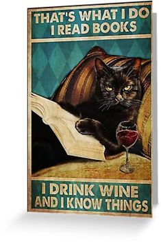 Crazy Cat Lady, Crazy Cats, Wine Poster, Wine And Canvas, Cat Reading, Black Cat Art, Gatos Cats, Cat Posters, Funny Posters