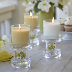 Clearly Creative Reversible Multi Candle Holder Pair - tealight well on one side or invert to hold pillars and Escential jars. Can also be stacked.Get yours here http://www.partylite.biz/sites/cheribuescher
