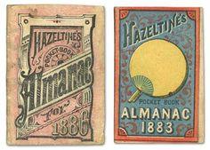 19th century. miniature almanacs. Hazeltine medicines, of Warren, PA. via @Jennifer Kennard (Letterology)