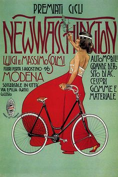 Vintage Italian Posters ~ #Italian #vintage #posters ~ # New Washington art deco bicycle poster