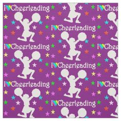 PRECIOUS PURPLE I LOVE CHEERLEADING FABRIC  Get creative with our unique Cheerleading fabric to sew awesome clothing, décor, and gifts. http://www.zazzle.com/collections/cheerleading_fabric-119739064883448180?rf=238246180177746410 #Cheerleading #Cheerleader #Cheerleadergift #Lovecheerleading #Cheerleadingfabric #PersonalizedCheerleader