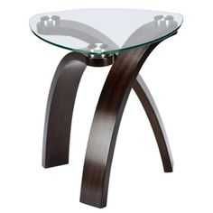 Allure End Table With Glass Top and Bent Wood Legs by Magnussen Home - Sheely's Furniture & Appliance - End Table Ohio, Youngstown, Cleveland, Pittsburgh, Pennsylvania Table Furniture, Modern Furniture, Wolf Furniture, Furniture Design, Belfort Furniture, Kitchen Furniture, Bedroom Furniture, Furniture Ideas, Glass End Tables