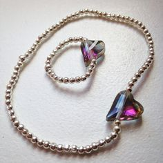 Silver Plated Crystal Glass Heart Charm Set by Alwaysbethemermaid Ring Bracelet, Bracelets, Heart Charm, Etsy Store, Silver Plate, Charmed, Pendant Necklace, Jewellery, Crystals