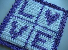 Love Potholder Crochet PATTERN - INSTANT DOWNLOAD $2.50