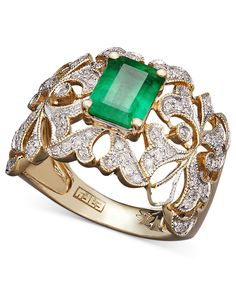 Effy Collection 14k Gold Ring, Emerald (1-3/8 ct. t.w.) and Diamond (1/3 ct. t.w.) Statement Ring - Rings - Jewelry & Watches - Macys
