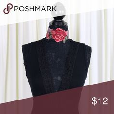 Thick Embroidered Rose Choker Very limited stock! Embroidered Rose Choker with an adjustable clasp for closure in the back. Color: Red. Displayed with the Veronica Lattice Detail Bodysuit, also available for sale. Sold separately!  Material:  Soft Fabric Jaded Affairs Jewelry Necklaces