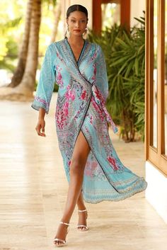 Orchid wrap maxi dress by Boston Proper Beach Dresses, Summer Dresses, Moda Floral, Mode Kimono, Maxi Wrap Dress, Elegant Outfit, The Dress, Dress Patterns, African Fashion