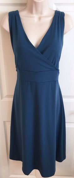Eddie Bauer Dress Size XL Women's Travex Sleeveless Jersey Knit Teal Blue EUC  | eBay