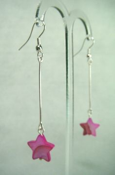 Fuchsia Mother of Pearl Star Drop Earrings - £5.50 at http://jewellerybyrebecca.co.uk/mpe005