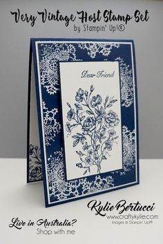 handmade greeting card by Kylie Bertucci ... Vintage .... looks like toile ... navy and white ... Stampin'Up!