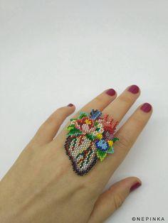 Wide ring on Etsy Seed Bead Earrings, Beaded Earrings, Beaded Jewelry, Peyote Beading, Perler Bead Art, Weaving Art, Bijoux Diy, Brick Stitch, Bead Crochet