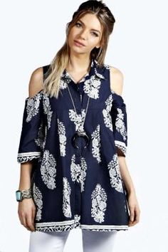 Macey Printed Open Shoulder Trapeze Shirt. Get unbeatable discounts up to 60% Off at Boohoo using Coupon & Promo Codes.