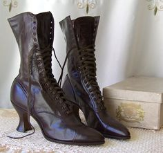Antique Victorian High Top Boots Leather Lace Up NOS Utz & Dunn Original Box Circa Early 1900s