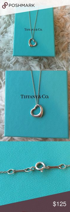 Tiffany & Co Open Heart Necklace This necklace is the classic open heart design by Elsa Peretti. Gently worn and still in great shape. Box not included. 16MM size. Tiffany & Co. Jewelry Necklaces