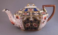 Wedgwood Imari Teapot, c.1880  Saturday, March 13th, 2010  English porcelain teapot, stamped WEDGWOOD with amphora vase mark on bottom, measures 9-1/2″ long by 4-3/4″ high.