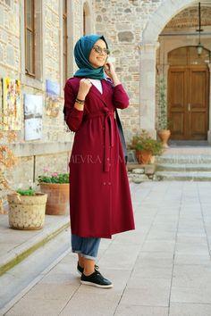 Mürdüm Trio Kap Tunik Islamic Fashion, Muslim Fashion, Hijab Fashion, Girl Fashion, Fashion Outfits, Womens Fashion, Stylish Dresses For Girls, Modest Dresses, Girls Dresses